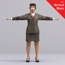 Brunette female flight attendant in hat - AWom0001-CS / Rigged for 3D Max + Character Studio 3D Model
