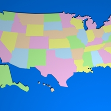 USA Map 3D Model