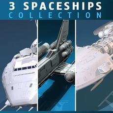 3 spaceship collection 3D Model