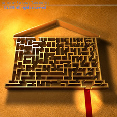 Labyrinth with house shape. 3D Model