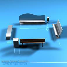 Park benches collection 3D Model