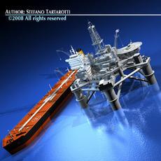 Oil platform with tankership 3D Model