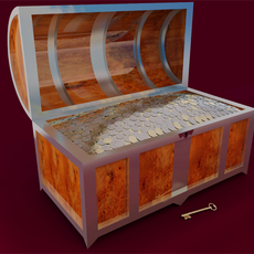 Chest filled by precious coins 3D Model