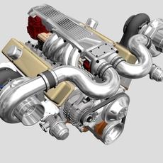 Twin-Turbo V8 Engine 3D Model