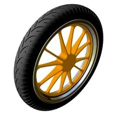 Motorcycle Front Wheel & Tire 3D Model