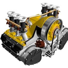 Porsche 3.2 Liter Engine 3D Model