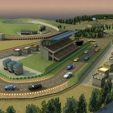 Racetrack plus Cars GameModels 3D Model