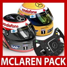 2007 F1 McLaren Helmets and Steering Wheel 3D Model