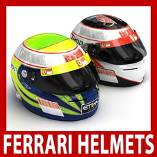 Felipe Massa and Kimi Raikkonen F1 Helmets 3D Model