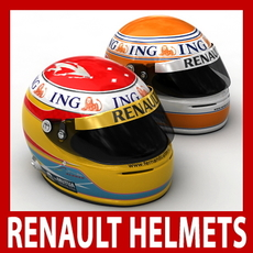 Fernando Alonso and Nelson Piquet Jr. Nelsinho F1 Helmets 3D Model