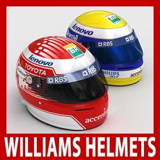 Nico Rosberg and Kazuki Nakajima F1 Helmets 3D Model