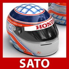 Takuma Sato F1 Helmet 3D Model