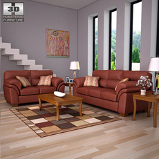 Ashley Hudson - Chianti Sofa & Loveseat Living Room Set 3D Model