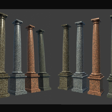 Marble Roman Tuscan Columns With Pedestal high low polygon 3D Model