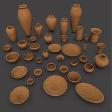 Ancient Egypt Clay Pottery 37 Pcs Uv Mapped 3D Model