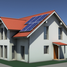 Residential Solar House 3D Model