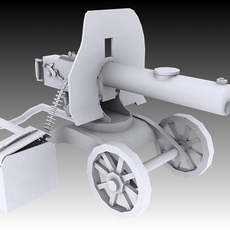 1910 Maxim Machine Gun 3D Model
