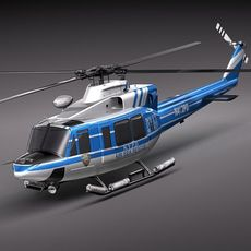 Police Bell 412 Surveillance Copter 3D Model