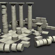 low poly Greek Doric ruins set  3D Model