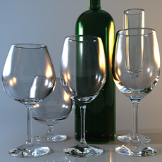 Collection of five wine glasses and a wine bottle 3D Model