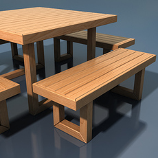 Square table with four benches 3D Model