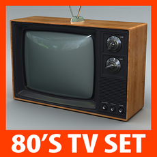 Retro Style 80's Television Set 3D Model