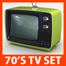 Retro Style 70's Television Set 3D Model