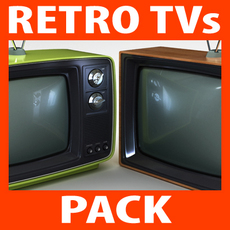 Retro Style Television Sets Pack 3D Model