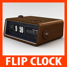 Retro Style Radio Alarm Flip Clock 3D Model