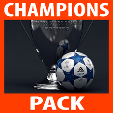 UEFA Champions League Cup Trophy and Finale 11 Match Ball 3D Model