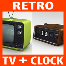 Retro Sytle Television Set and Radio Alarm Flip Clock 3D Model