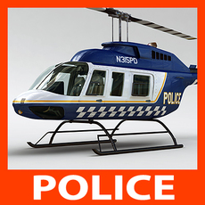 Helicopter - Police Bell 206L with Interior 3D Model