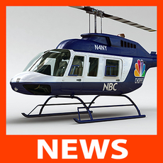 Helicopter - News Bell 206L with Interior 3D Model