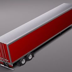 Semi Truck Cargo Trailer 3D Model