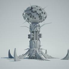 Futuristic Sci Fi Building 5 3D Model