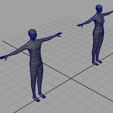 BASIC man and woman mesh 3D Model