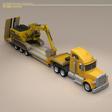 Truck with stepframe trailer and excavator 3D Model