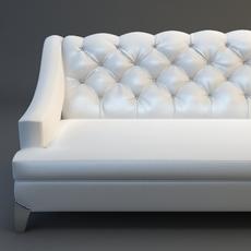White Sofa Tufted Back 3D Model