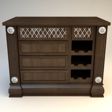 Kitchen Island Cabinet with Wine Rack 3D Model