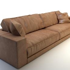 Photorealistic Long Leather Sofa 3D Model