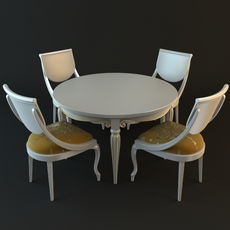 Table & Chairs Set 3D Model