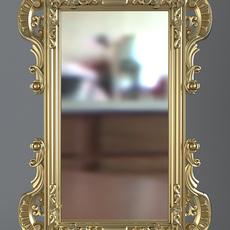 Gold Rectangular Wall Mirror 3D Model