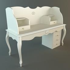 White Ladies Writing Desk 3D Model
