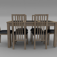 Table And Chair Set - Wood And Slate 3D Model
