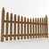 Gothic Spaced Picket Fence 3D Model