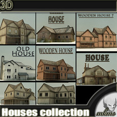 8 low poly high detail textured cottage Houses 3D Model