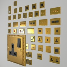 UK electrical switches & sockets pack - Georgian style 3D Model