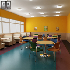 Dining room 04 Set - a fast food restaurant furniture. 3D Model