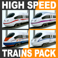 High Speed Train Pack - Siemens Velaro with Interior 3D Model