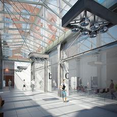 Corridor Business interior scene Render Ready 3D Model